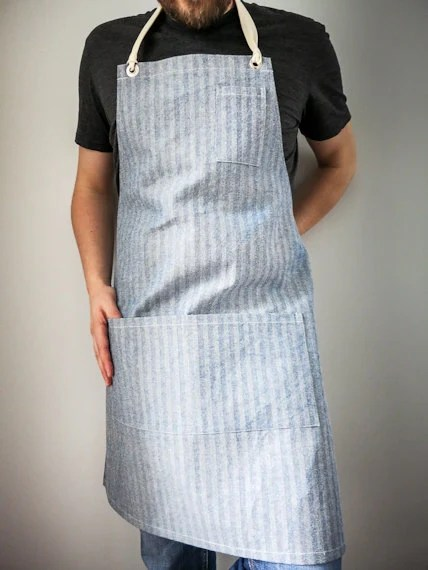 Mens Work Apron Herringbone Denim