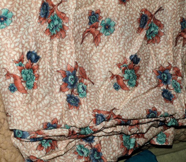 Blue And Teal Flowers Peach Fabric