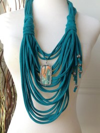 Items similar to Scarf Necklace: Jade with Fish Pendant on ...