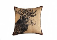 Moose Pillow, Burlap Pillow, Throw Pillow, Cushion, Accent