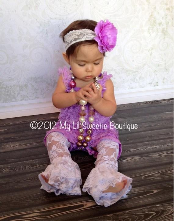 NEW Lavender Purple Lace Petti Romper Set Newborn Baby Girl