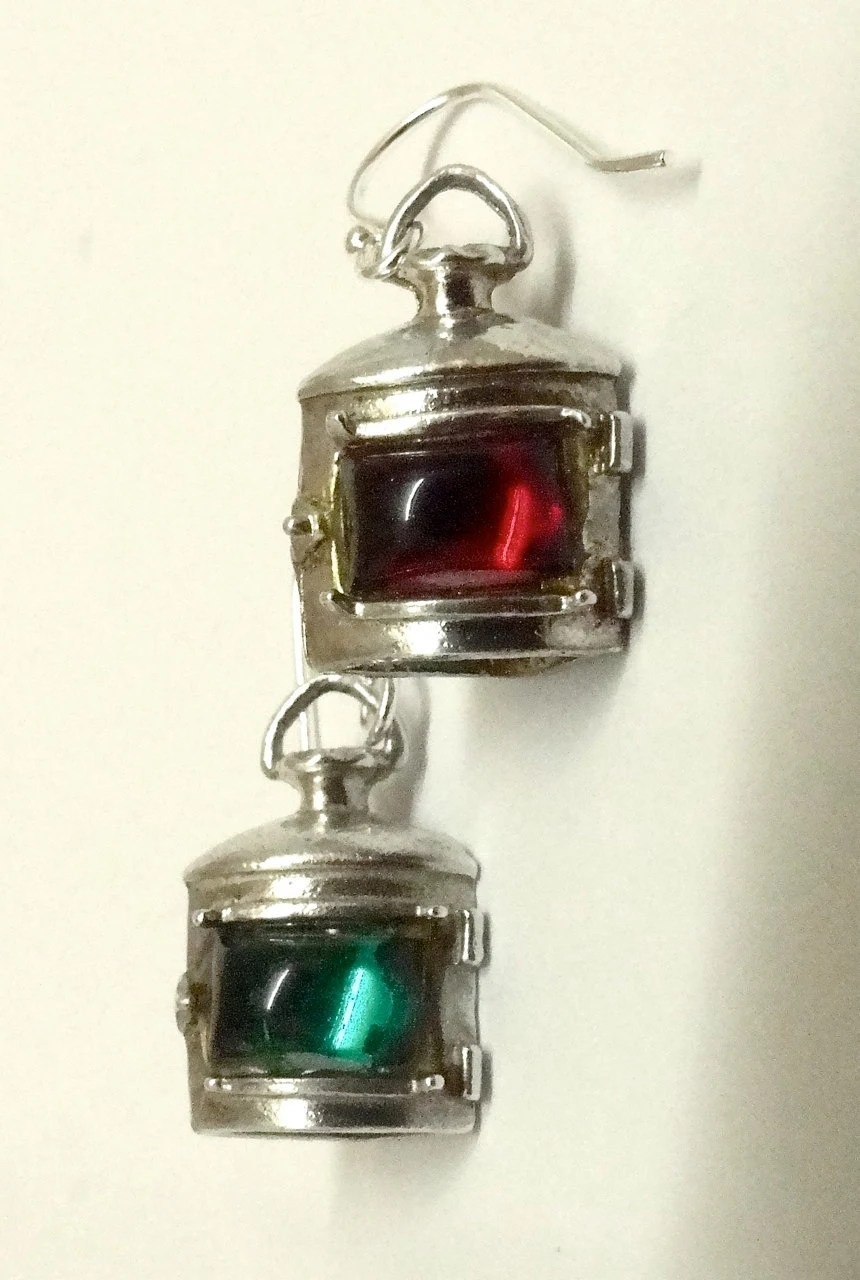 English Starboard  Port ship lantern earrings Sterling