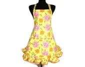 Pink and Orange Flowers on Yellow , Womens Retro Kitchen Apron , Adjustable with Ruffle and Pocket - ElsiesFlat