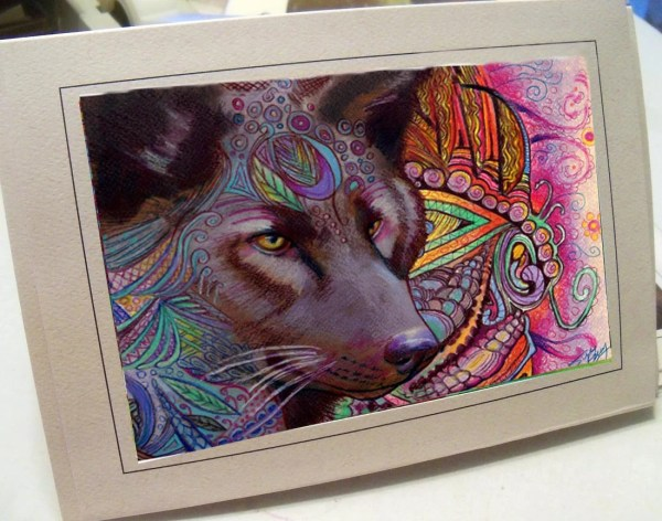 Greeting Card Print Of Original Art Wolf Zentangle
