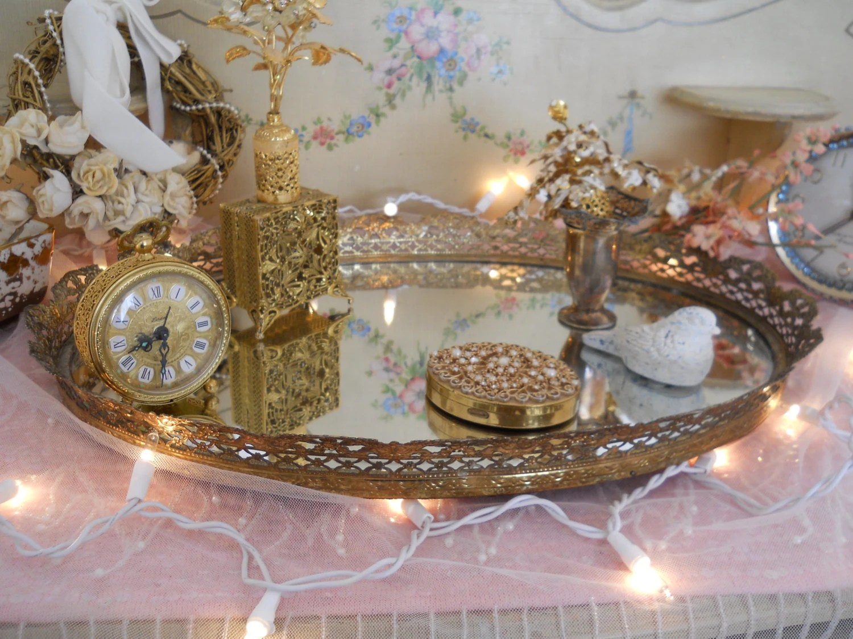 Very Large Oval Vintage Gold Filigree Mirrored Perfume Vanity