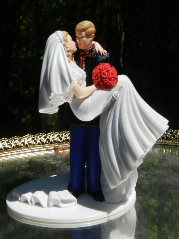Military Marine Corps Wedding Cake Topper Kiss Groom