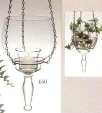 Princess House Crystal Blown Glass Hanging Vase Candle Votive