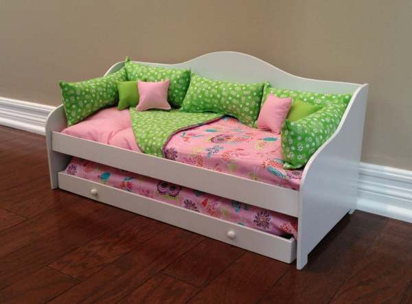 13-piece Pink Green Owl Daybed Bedding Fits 18 Ag Doll