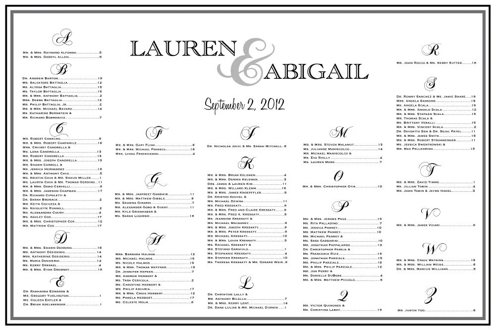 Wedding Seating Chart Table Assignments by CharmingPaperShop