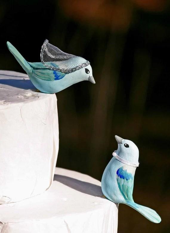 Blue Gray Tanager Love Birds Wedding Cake Topper