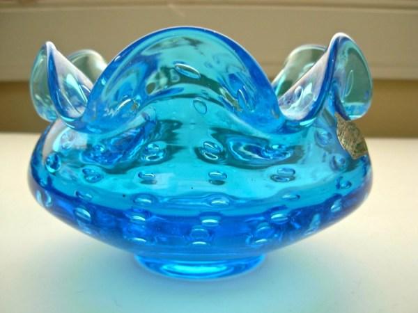 Vintage Hand Blown Blue Glass Vase