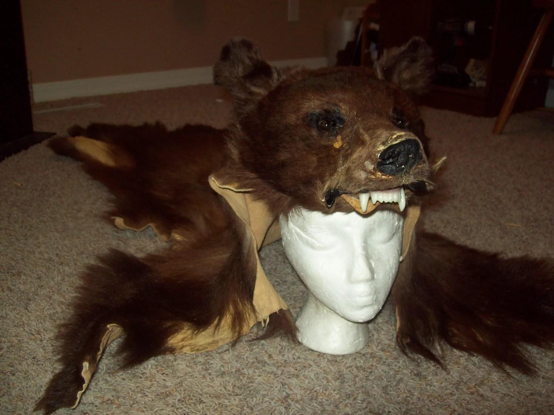 FULL BEAR HEADDRESS Black bear skin headdress native american