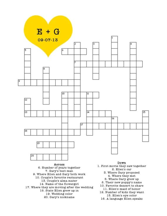Items similar to Custom Crossword Puzzle for Wedding