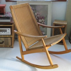 Mid Century Modern Rocking Chair Folding Storage Hooks Wegner Style Rope Excellent