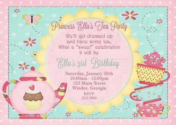 princess tea party invitation wording