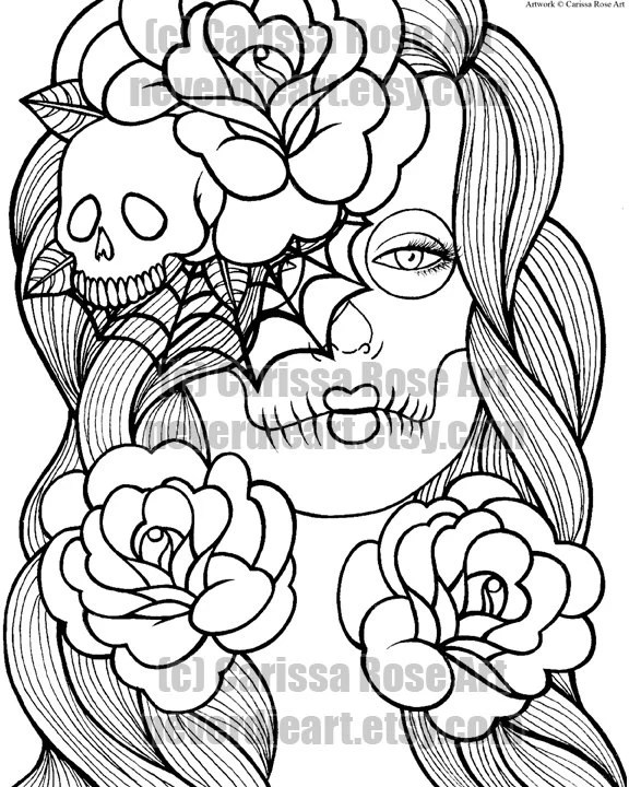 20 Cool Coloring Pages Skulls And Roses Ideas And Designs