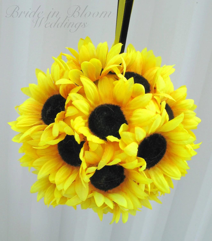 Sunflower wedding flower ball pomander flower girl kissing