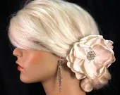 My Wedding Day Ivory Rose - Handmade Ivory or Champagne Bridal Flower Fascinator with Elegant Rhinestone Center, Hair