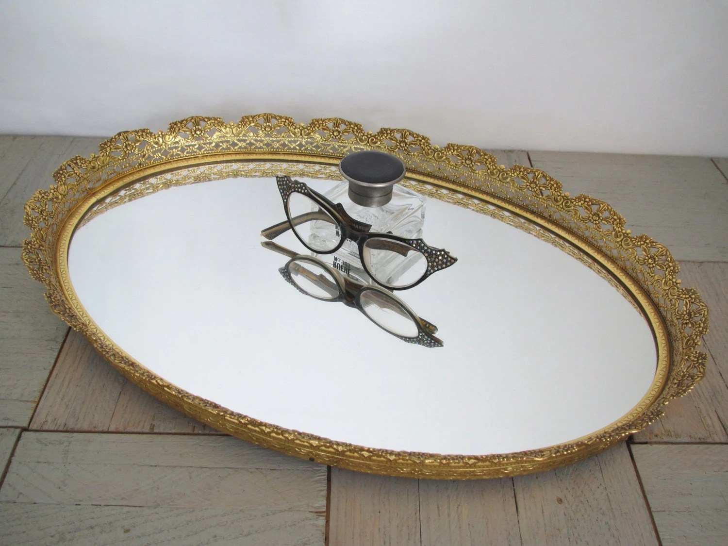 Vintage gold mirror tray  ornate gold tray  vanity