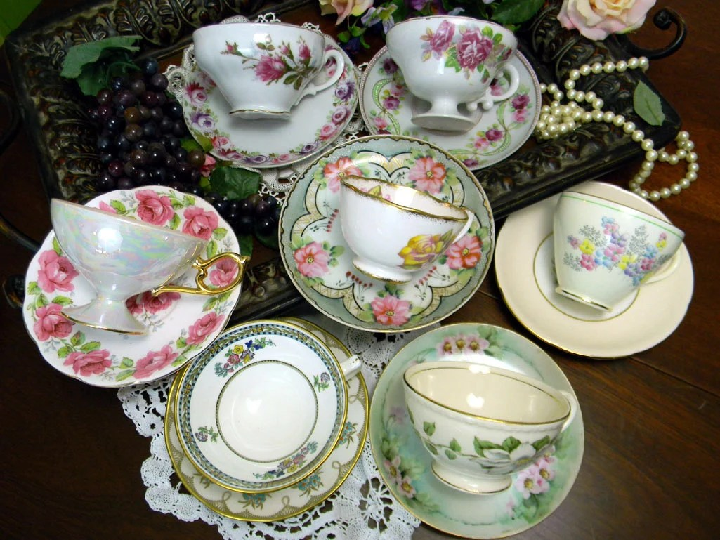 7 Mismatched Cups and Saucers Lot Tea Party by