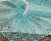2 Yards Lace Trim Floral Embroidered Deep Cyan Tulle Lace 7.48 Inches Wide - Lacebeauty