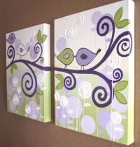 Wall Art Lavender Purple and Green Modern Bird by