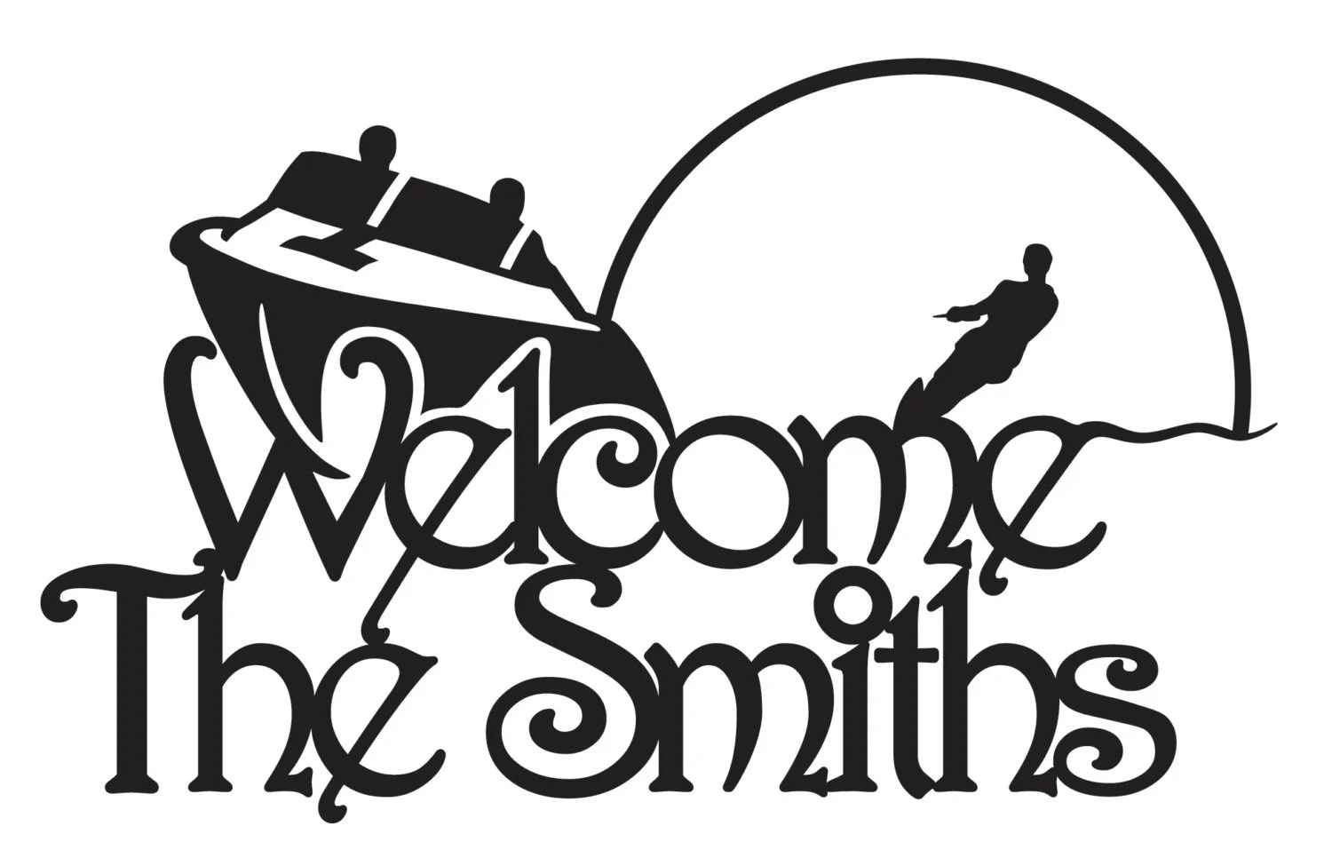 Personalized Welcome Sign Boat And Waterskier