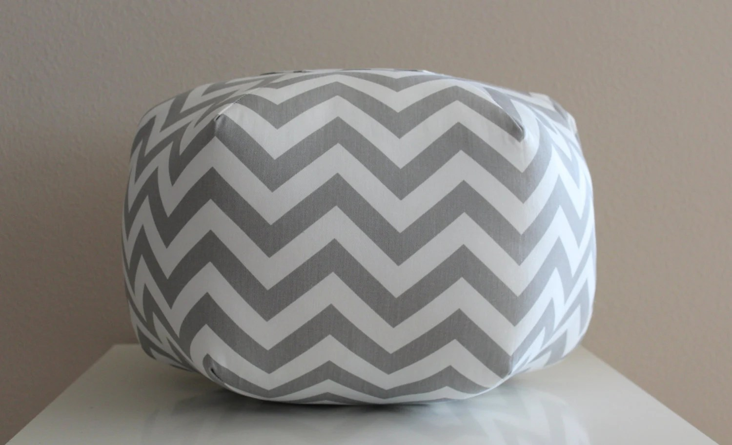 Grey And White Ottoman