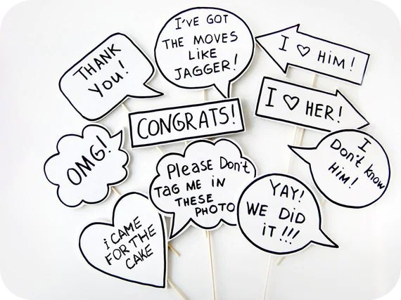 10 Signs Photobooth Props Wedding Photo Props by