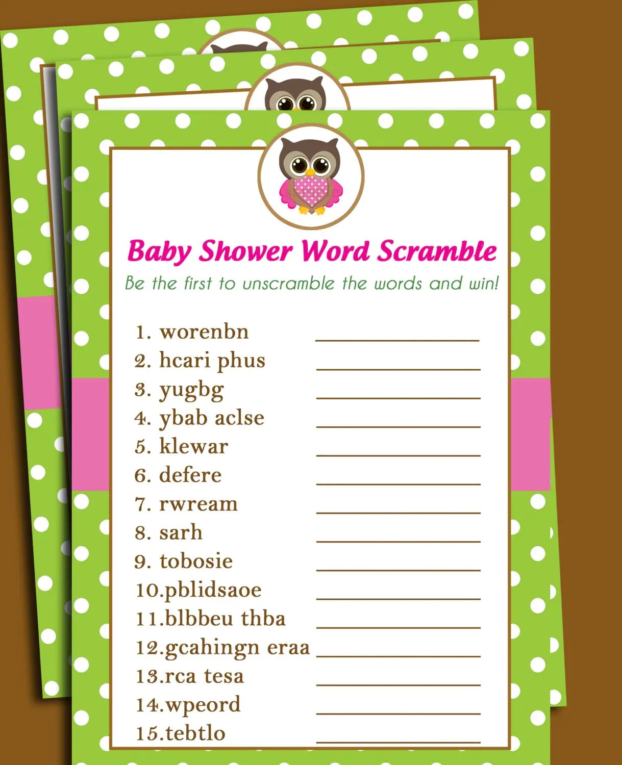 50 Off Sale Owl Baby Shower Word Scramble Printable