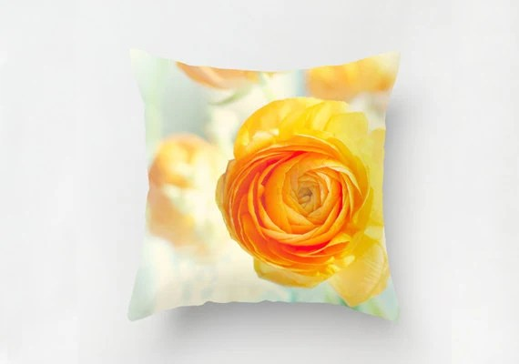 "Decorative Orange Floral Pillow Cover 16""x16"" or 18""x18"" throw pillow fine art photography ranunculus orange and green flowers for her - semisweetstudios"
