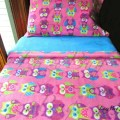 Childrens bedding set pink owls for girls by lazybugfleece