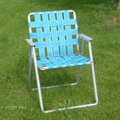 Webbing For Aluminum Folding Chairs Office Chair Covers Target Vintage Lawn With Blue