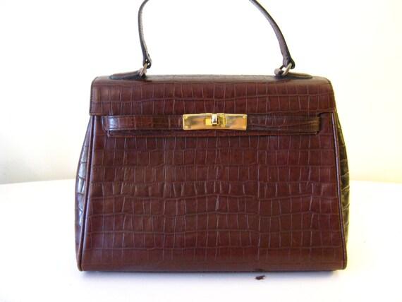 CASA LOPEZ Alligator Embossed Brown Kelly Style Handbag Leather