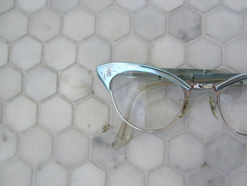 50s eyeglasses . 1950s vintage eye glasses . blue aluminum frames - BlueFennel