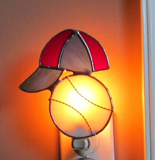 Baseball And Hat Stained Glass Night Light Authentic