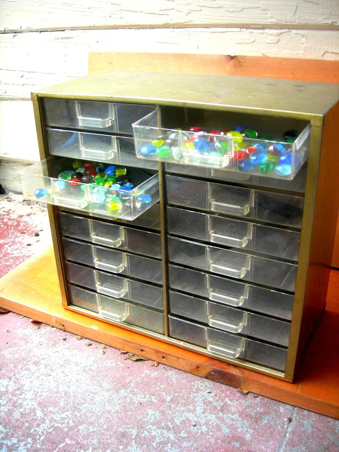 Vintage storage box button box screw box sewing cabinet