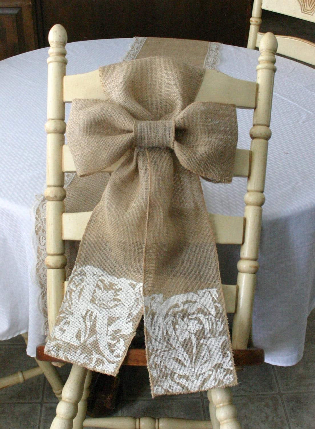 burlap chair sashes lounge accent two pew bows shabby chic country by bannerbanquet