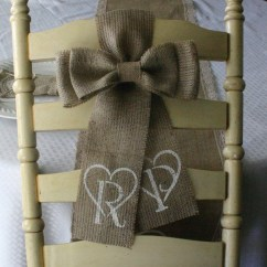 Burlap Bows For Wedding Chairs Best Chair After Back Surgery Two Bride And Groom Monogrammed Pew