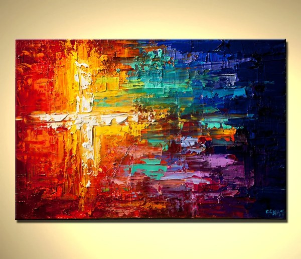 Original Abstract Painting Contemporary Colorful Art Textured