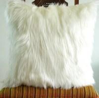 Ivory fur pillow throw cover14 X 14 fluffy white fur white