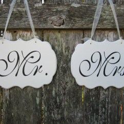 Mr And Mrs Chair Signs Fuzzy White Wedding