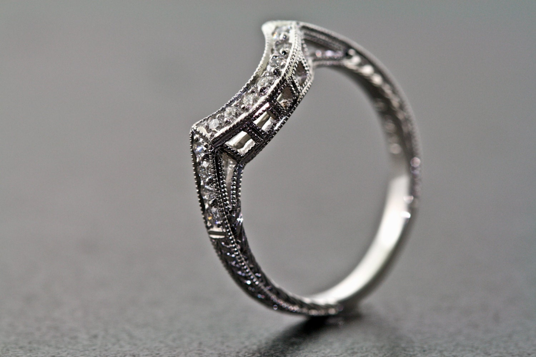 Platinum Curved And Diamond Hand Engraved Estate Design