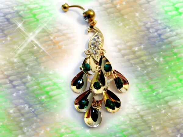 Ring Shimmery Gold Peacock With Emerald Green