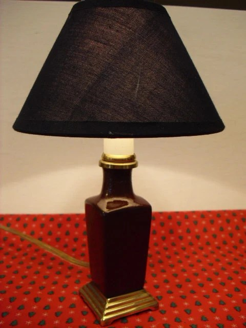 Small Brown Electric Table Lamp Night Light with Navy Blue