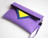 SALE 20%OFF Geometric purple navy blue black yellow felt clutch bag - FancyfeltShop