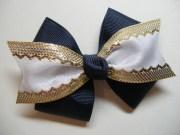nautical navy blue hair bow white