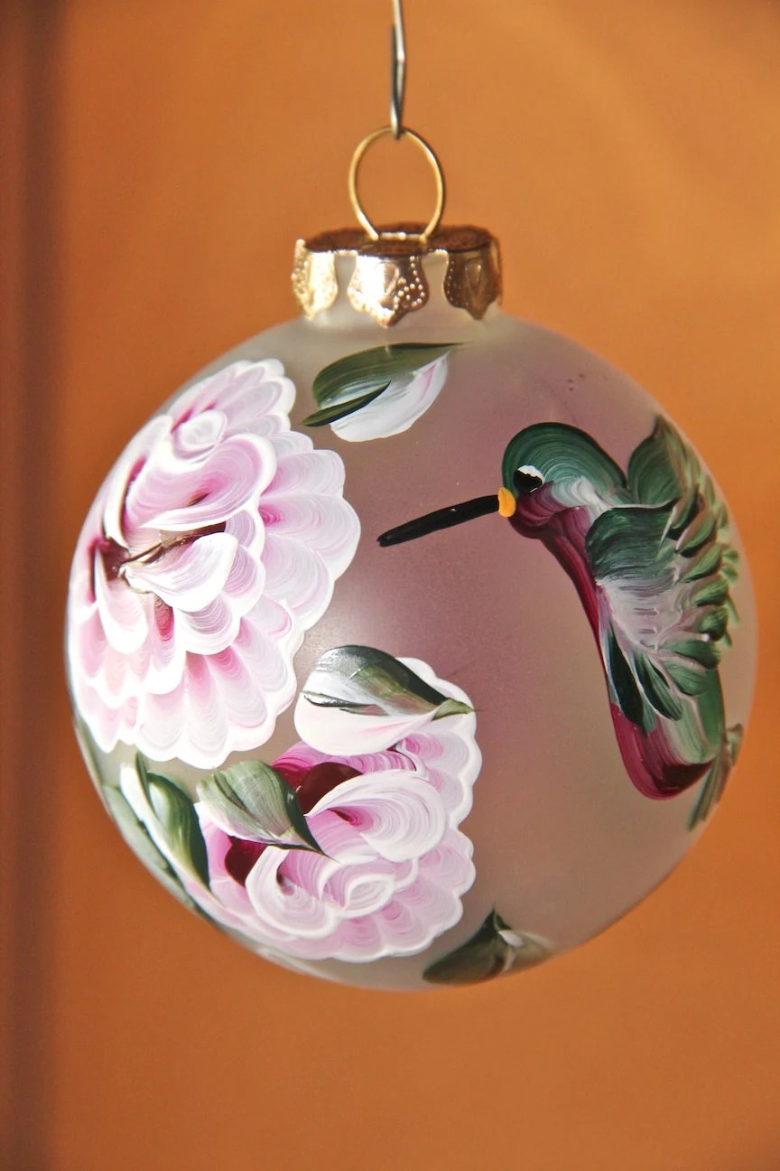 Hand painted frosted glass Christmas tree holiday ornament