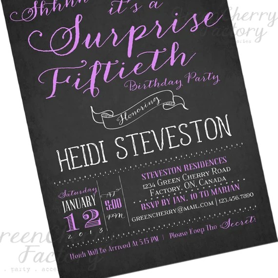 Hand-Writing Adult Surprise Birthday Invites - Any Ages - Chalkboard and Purple  - CUSTOM COLORS - Typography Printable Invitation - No.216