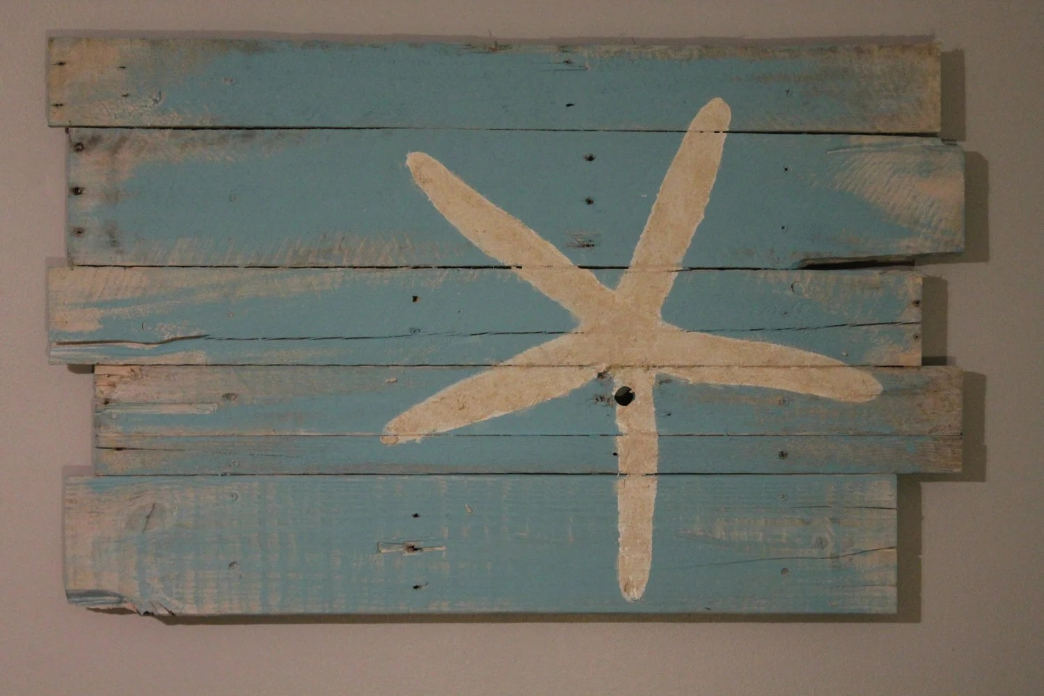 Beach And Starfish Wall Hanging Reclaimed Wood Rt Justified